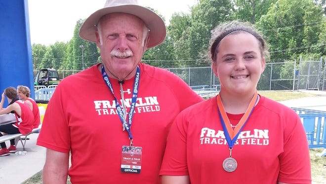 Franklin junior LesLeigh Tabor and her coach, Bob Nichols.