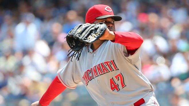 Cincinnati Reds starting pitcher Johnny Cueto (47) pitches during the first inning against the New York Yankees at Yankee Stadium.