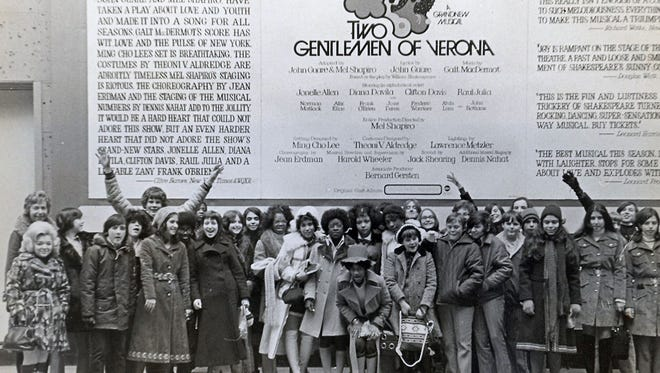 Ina's 8th grade class from Paterson School 20 at Two Gentlemen from Verona on Broadway in 1971.  Ina is on the left, the teacher standing near Ina was the librarian Grace Zimel, Ina's dear friend. Grace's husband Joe took the picture.  The Jewish Historical Society of North Jersey will honor Ina Cohen Harris at its Annual Fundraising dinner on May 16, 2018 at 6:00pm at Barnert Temple in Franklin Lakes