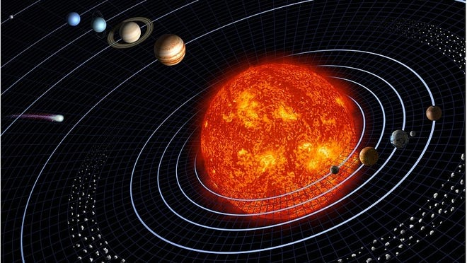 This painting of the Solar System is definitely not to scale, but depicts the planets in their order from the sun. Each orbit can be likened to a lane in a race track.
