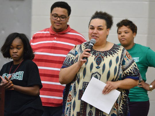 Carla Christopher thanks students at York County School of Technology during an assembly celebrating Diversity Week, Thursday, May 4, 2017. The assembly included testimonials from students about their experiences as immigrants, attempting suicide, and race issues. Christopher recently resigned her position as the school's equity coordinator. John A. Pavoncello photo