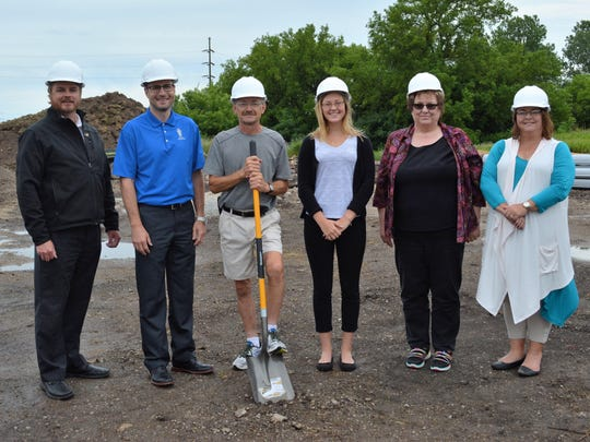 Plymouth's Chamber of Commerce recently held a ground breaking ceremony for In-N-Out Storage, 423 Clifford St., Plymouth. Present was Plymouth Chamber Executive Director Mary Hauser; Chamber Ambassador Jerry Matzdorf, The Benefit Companies of Plymouth; Chamber Ambassador Derrick Hermann, Waldo State Bank; Property Manager Lynn Soukup; Karen Mais and Emma Sippel, of In-N-Out Storage. In-N-Out Storage plans to open mid-August.