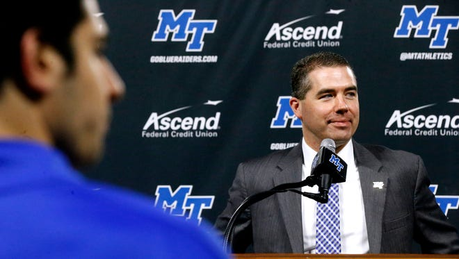 A press conference was held at Murphy Center to introduce the new MTSU coach Nick McDevitt on Tuesday March 27, 2018.