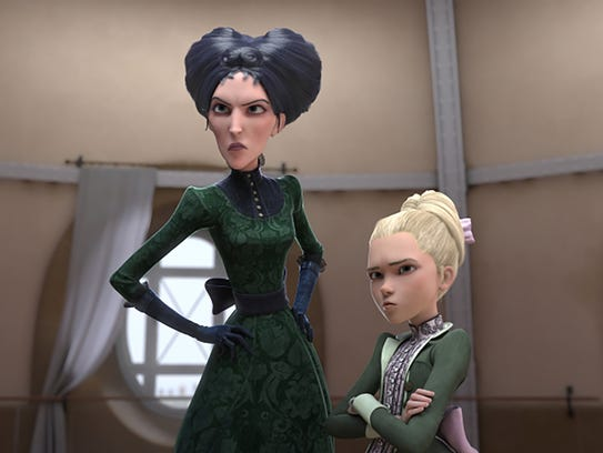 Regine (voiced by Kate McKinnon, left) and Camille