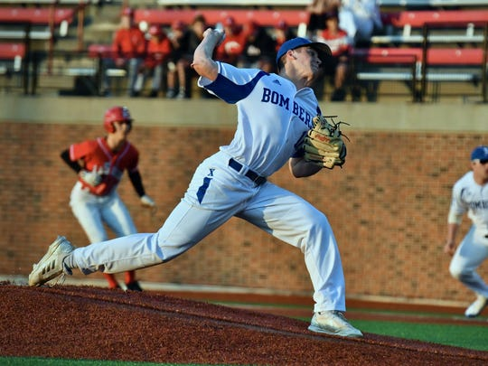 Wyatt Hudepohl delivers a pitch in the first inning for St. Xavier Wednesday, April 11th at the University of Cincinnati