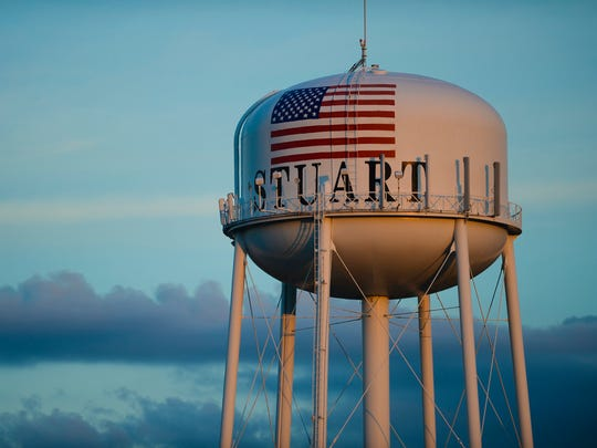 Stuart's iconic water tower is seen Sept. 22, 2013.