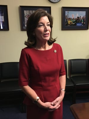 New York Lt. Gov. Kathy Hochul speaks to reporters on Wednesday, March 8, 2017, after a meeting in Washington, D.C., with members of New York's congressional delegation.