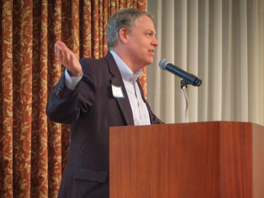 Ray Leach, founding CEO of Cleveland-based JumpStart, speaks Tuesday at the FusionPointe event in Bonita Springs.