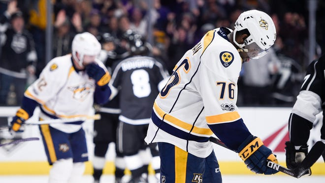 The Predators, clutching onto third place in the Central Division, have lost four consecutive games.