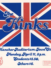 A poster for a concert by The Kinks at Hancher Auditorium