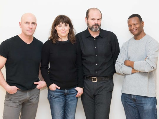 """From left, Jordan Lage, Rebecca Pidgeon, Chris Bauer and Lawrence Gilliard Jr. in rehearsal for Atlantic Theater Company's world premiere of David Mamet's """"The Penitent."""""""