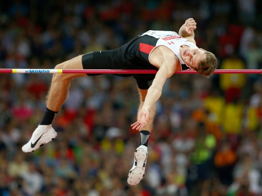 Derek Drouin of Canada competes in the Men's High Jump Final during day nine of the 15th IAAF World Athletics Championships Beijing 2015 at Beijing National Stadium on Aug. 30, 2015
