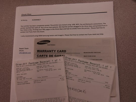 The warranty card for Henry Wolfson's Samsung Xpress