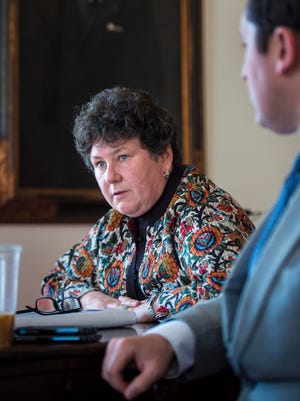 Susan Donegan, the commissioner of the Department of Financial Regulation, discusses the Shumlin administration's oversight of the EB-5 program during an interview at the Statehouse in Montpelier on Wednesday, April 20, 2016.