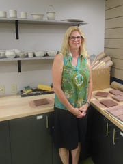 Kathryn Dreifuerst, pictured with the work, was chosen as the Fond du Lac Public Library Idea Studio's Resident Artist. Her work will be on display in the  Langdon Divers Gallery in October. A reception will be held from 6 to 8 p.m., on Oct. 12.