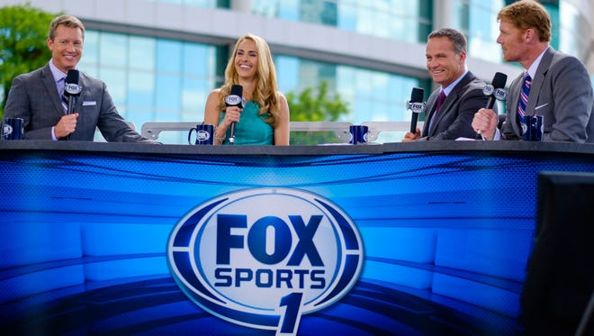 (From left) Rob Stone, Heather Mitts, Eric Wynalda and Alexi Lalas during the announcement of the USWNT roster on FOX Sports 1.