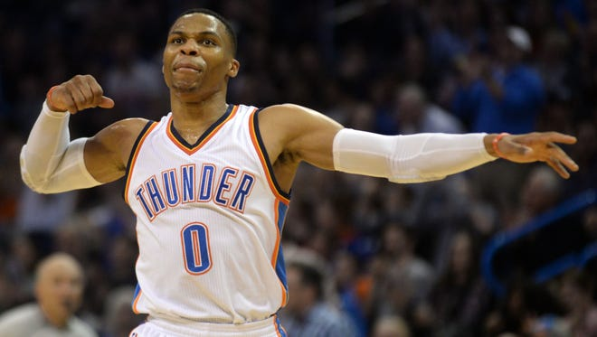Oklahoma City Thunder guard Russell Westbrook (0) reacts after a play against the Detroit Pistons during the second quarter at Chesapeake Energy Arena.