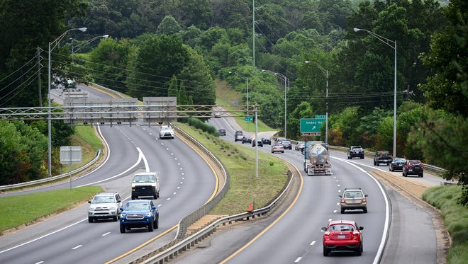 The Amboy Road exit is seen from the Brevard Road bridge over I-240 last year. State government plans to rebuild the interchange as part of the I-26 Connector Project.