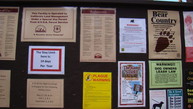 A sign warns visitors to Fallen Leaf Campground that plague has been detected at the Tahoe-area site.
