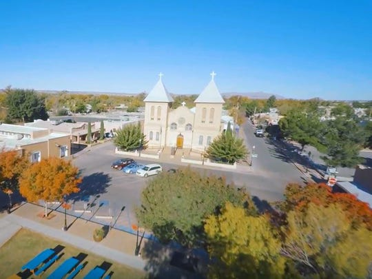 CUTLINE: An aerial view of the Basilica of San Albino on the Mesilla Plaza. The first church on the site was built in 1852; the current structure was built in 1906, and is one of the oldest churches in the region.