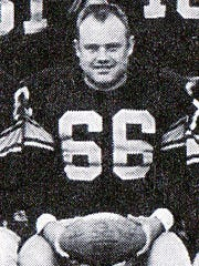 Green Bay Packers linebacker Deral Teteak in the team picture from 1956, his last season with the Packers.