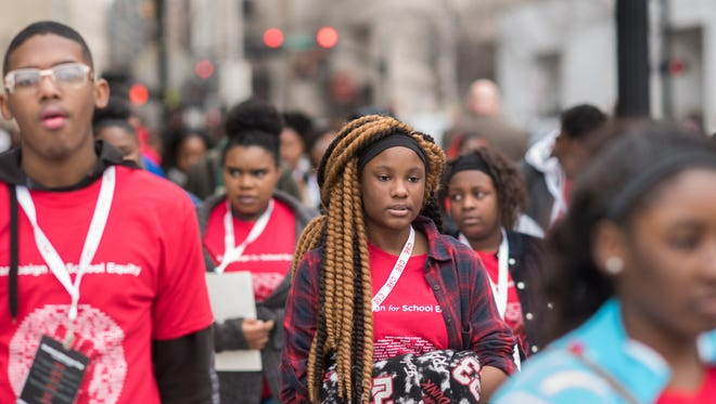 Trezevant High School student Brenda Crawford, center, attended the Campaign for School Equity's Student Advocacy Day 2018 in Nashville on Feb. 13. It was attended by 105 high school students representing 12 Memphis schools. Students held a rally for Tennessee students and met with legislators to talk about education issues.