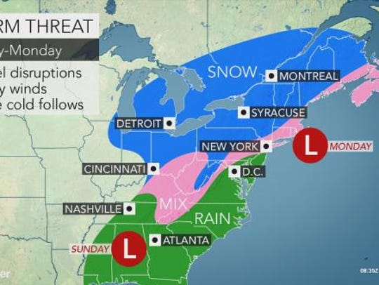 A mix of rain and snow could create messy driving conditions