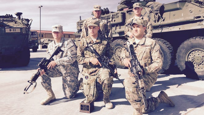 Soldiers from Blackfoot Troop, 6-1 Cav are the top scout squad at Fort Bliss and the 1st Armored Division. Members of the squad include from left, Spc. Matthew Lacher, Pvt. Samuel Frank and Spc. Matthew Mccullough and standing, Sgt. Randy Webb and Spc. Tylor Kirn. Staff Sgt. Ariel Casas is not shown.