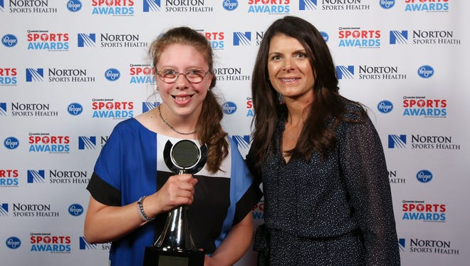 Two-time U.S. Olympic gold medalist Mia Hamm, right, posed with Catelynn Alpiger during the CJ Sports Awards.June 12, 2017