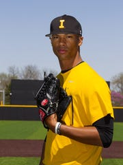 Iowa pitcher Blake Hickman poses for a photo at Duane Banks Field on Thursday, April 23, 2015. Hickman has rocketed up MLB draft boards, owning a fastball that can reach 97 mph.