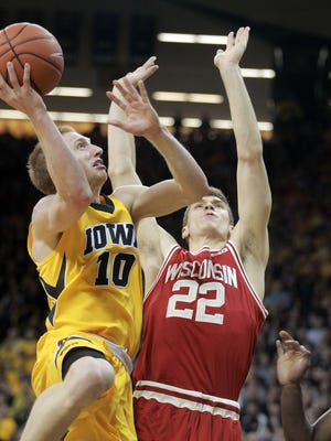 Iowa's Mike Gesell goes up for a shot during the Hawkeyes' game against Wisconsin at Carver-Hawkeye Arena on Wednesday, Feb. 24, 2016.