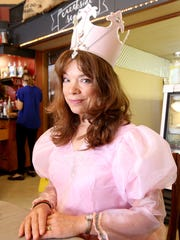 Kathryn Cater materialized as Glinda at Appeal Tribune's new community column, Creekside Cafe, on Wednesday, May 18, 2016 at Silver Falls Coffee House in Silverton.