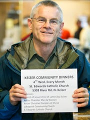 Terry Frazier came to Holding Court to promote the Keizer Community Dinners, sponsored by five local churches and groups, on the fourth Wednesday of every month.