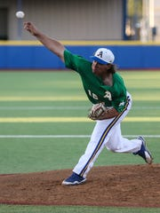 Angelo State's Matt Shannon pitches during the baseball