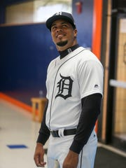Tigers infielder Jeimer Candelario poses during picture day on Tuesday, Feb. 20, 2018, at Joker Marchant Stadium in Lakeland, Fla.