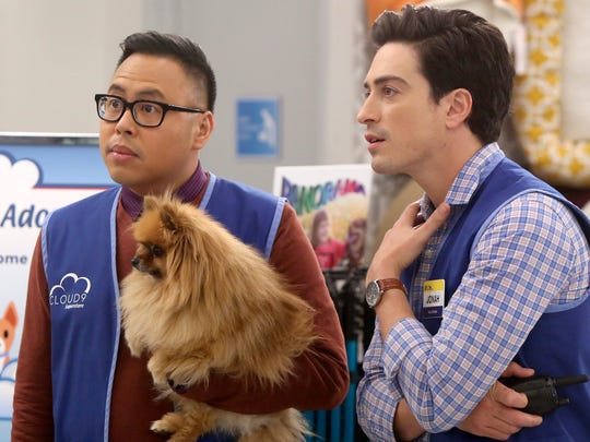 Nico Santos as Mateo and Ben Feldman as Jonah in NBC's 'Superstore.'