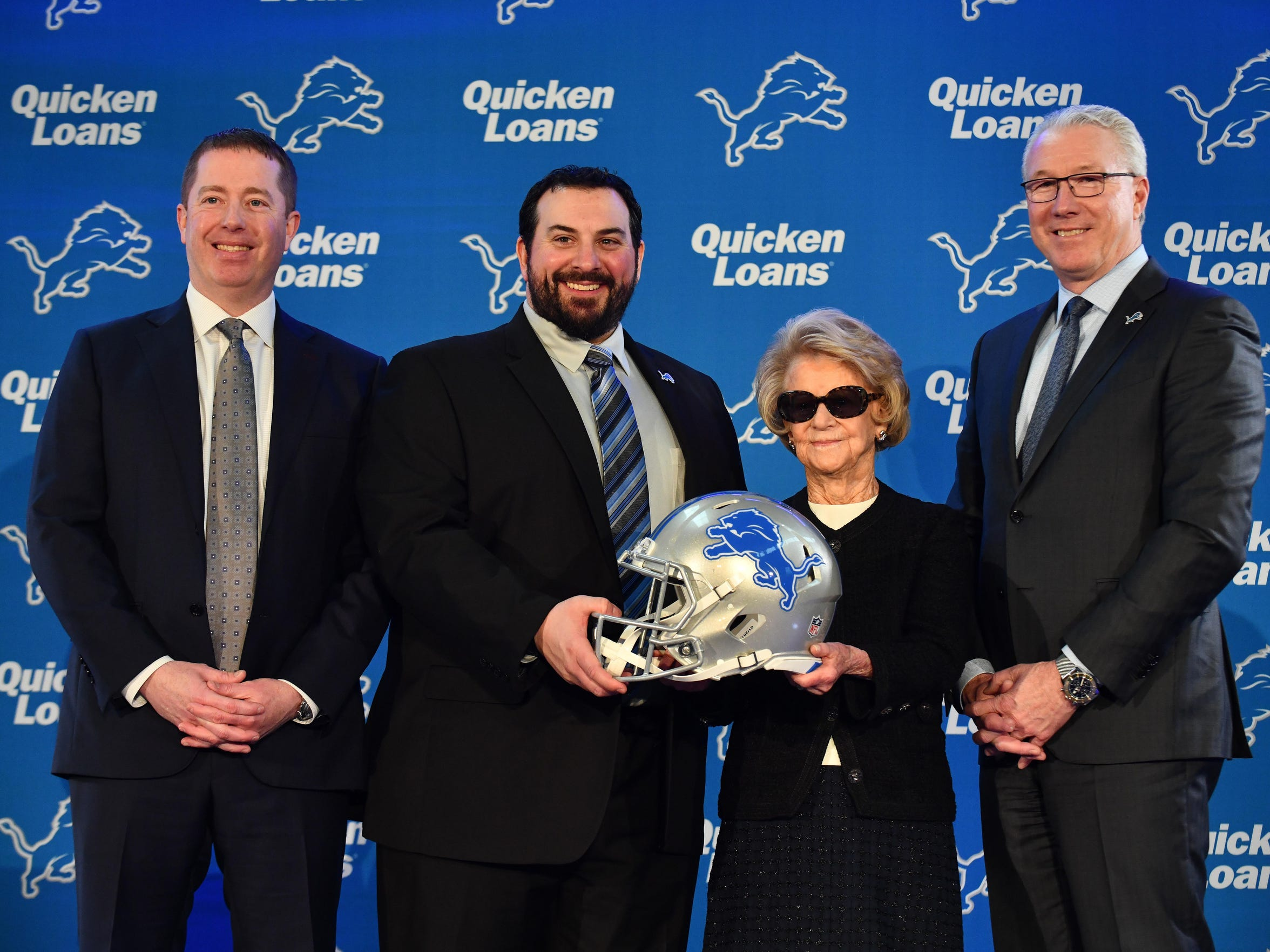 Detroit Lions general manager Bob Quinn, from left, head coach Matt Patricia, owner Martha Ford and president Rod Wood appear together at Patricia's introductory press conference in February.