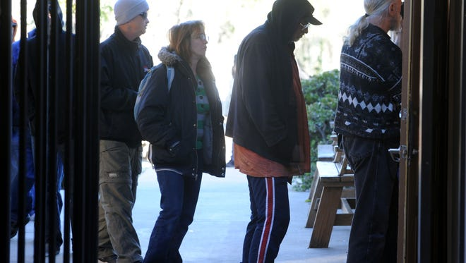 Homeless people are shown at the Samaritan Center in Simi Valley in this file photo.