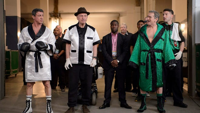 Sylvester Stallone, left, Alan Arkin, Kevin Hart, Robert De Niro and Jon Bernthal star in the new comedy 'Grudge Match,' due in theaters Dec. 25, 2013.