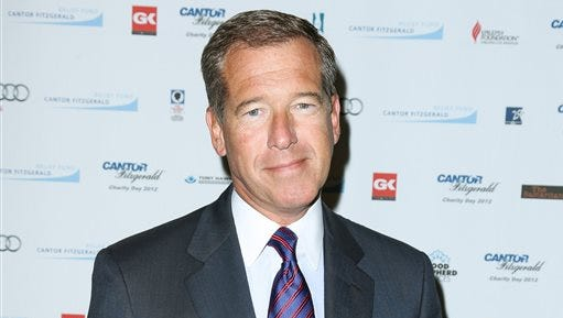 """This file image released by Starpix shows Brian Williams at the Cantor Fitzgerald Charity Day event in New York. NBC """"NBC """"Nightly News"""" anchor Williams has admitted he spread a false story about being on a helicopter that came under enemy fire while he was reporting in Iraq in 2003. Williams said on """"Nightly News"""" on Wednesday, he was in a helicopter following other aircraft, one of which was hit by ground fire. His helicopter was not hit."""