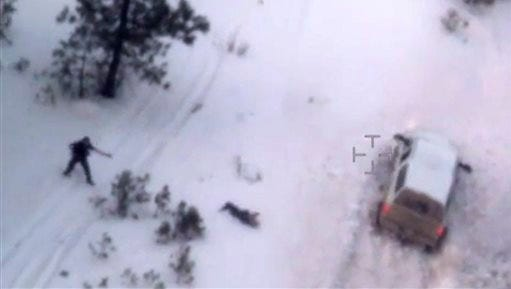 "This photo taken from an FBI video shows Robert ""LaVoy"" Finicum after he was fatally shot by police Tuesday, Jan. 26, 2016 near Burns, Ore.  A video released Thursday, Jan. 28, 2016 by the FBI of the shooting death of a spokesman for the armed occupiers of a wildlife refuge shows the man reaching into his jacket before he fell into the snow. The FBI said the man had a gun in his pocket. (FBI via AP)"