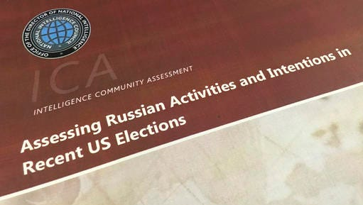 A part of the declassified version Intelligence Community Assessment on Russia's efforts to interfere with the U.S. political process is photographed in Washington, Friday, Jan. 6, 2017. Russian President Vladimir Putin ordered a campaign to influence the American presidential election in favor of electing Donald Trump, according to the report issued by U.S. intelligence agencies. The unclassified version was the most detailed public account to date of Russian efforts to interfere with the U.S. political process, with actions that included hacking into the email accounts of the Democratic National Committee and individual Democrats like Hillary Clinton's campaign chairman John Podesta.