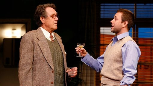 "In this image released by David Gersten & Sam Rudy Media, Larry Pine, left, and Vincent Kartheiser perform in a scene from ""Billy & Ray"", at the Vineyard Theatre in New York."