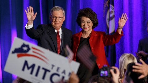 Senate Minority Leader Mitch McConnell of Ky.,  joined by his wife, former Labor Secretary Elaine Chao, celebrates with his supporters at an election night party in Louisville, Ky.,Tuesday. McConnell won a sixth term in Washington, with his eyes on the larger prize of GOP control of the Senate. The Kentucky Senate race, with McConnell, a 30-year incumbent, fighting off a spirited challenge from Democrat Alison Lundergan Grimes, has been among the most combative and closely watched contests that could determine the balance of power in Congress.