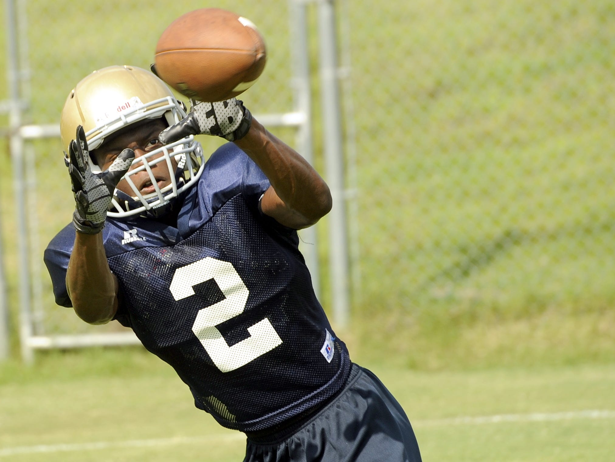Independence sophomore wide receiver T.J. Sheffield looks in a pass during a recent practice.