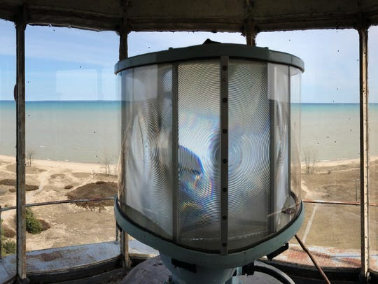 The lantern of the Rawley Point Lighthouse has six