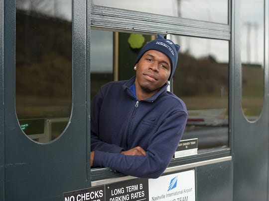 Reginald Minter, a Memphis resident and TSU student was mentored by the director of the Memphis airport.  Minter now works  at the Nashville International Airport  long term parking  on Saturday, Dec. 31, 2016.  Minter's mentor helped get him a job at the parking company at the Nashville airport.