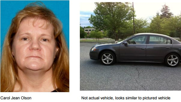 Carol Jean Olson has been missing since Tuesday.