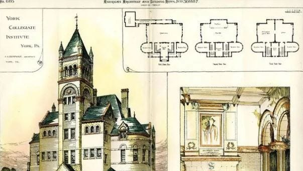 Architectural drawing of the second YCI building.