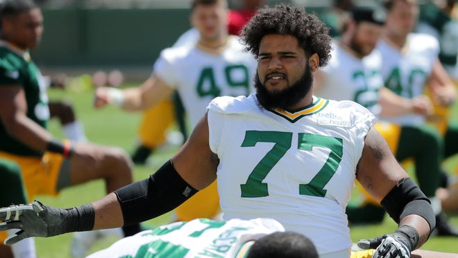 Green Bay Packers offensive guard Adam Pankey (77) is shown during organized team activities Monday, June 4, 2018 in Green Bay, Wis.